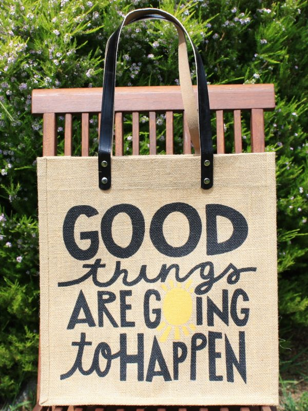 Inspire Printed Jute Bags with Leather Handles