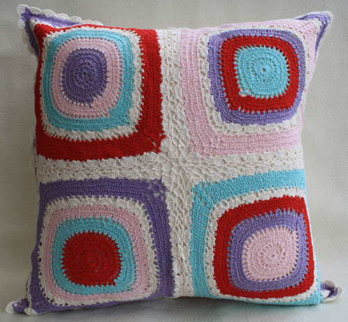 Cushion Cover (Handmade Crochet With Lace) - Squares (Pink/Red)