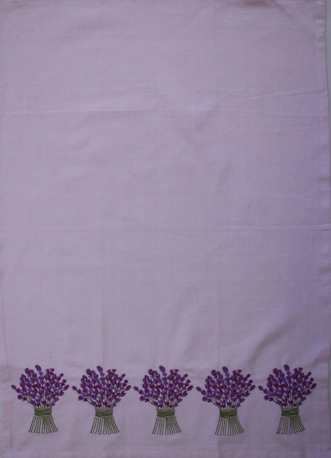 Tea Towel - Lavender Bouquet Border Embroidery