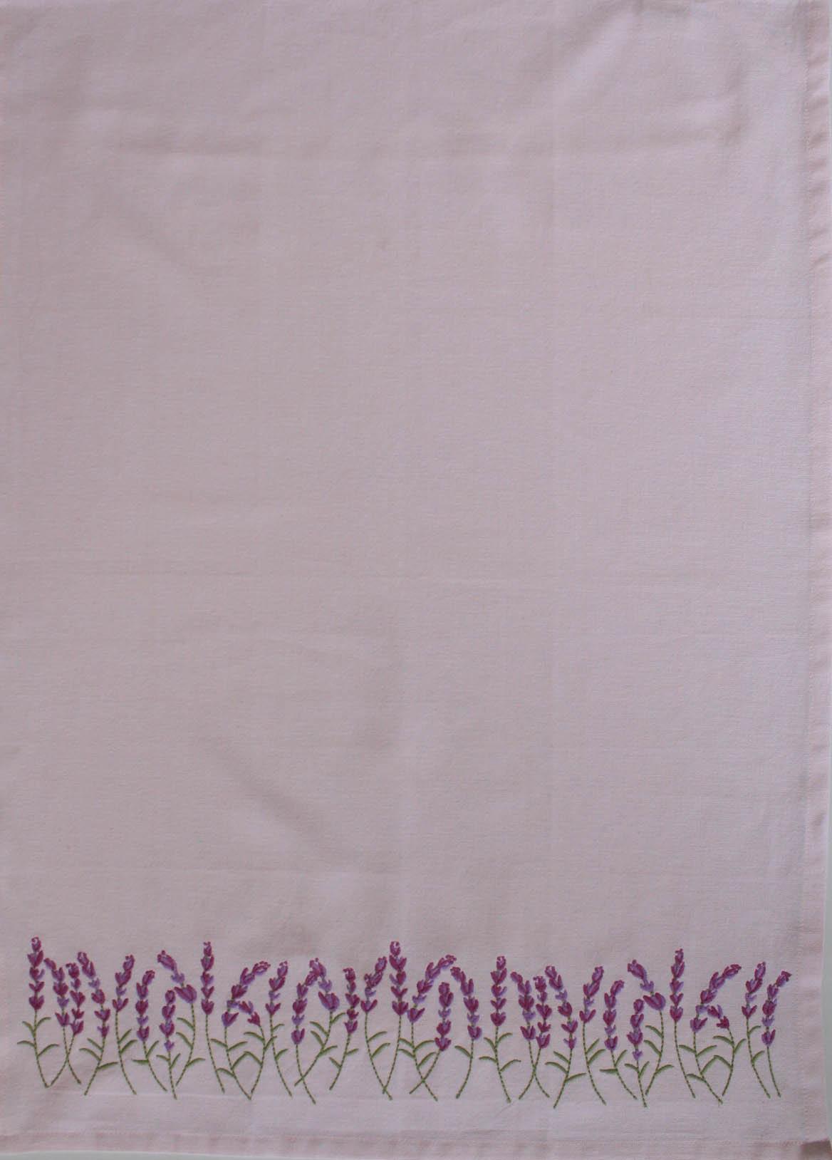 Tea Towel - Lavender Border Embroidery