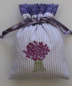 Lavender Bouquet Embroidered Drawstring Lavender Bag (Filled)