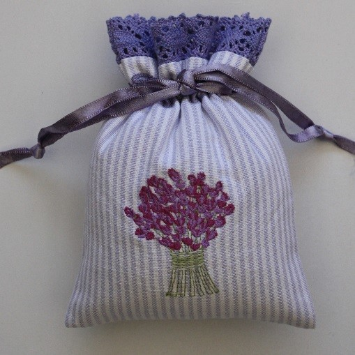 Lavender Bouquet Embroidered Drawstring Lavender Bag (Filled)