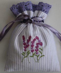 Lavender Embroidered Drawstring Lavender Bag (Filled)