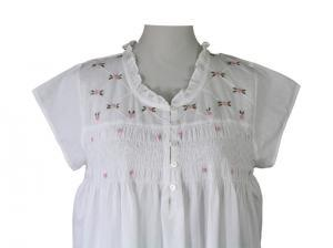 Liberty Rose White Nightdress with Smocking