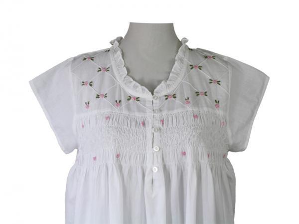 Liberty Rose White Nightdress with Smocking