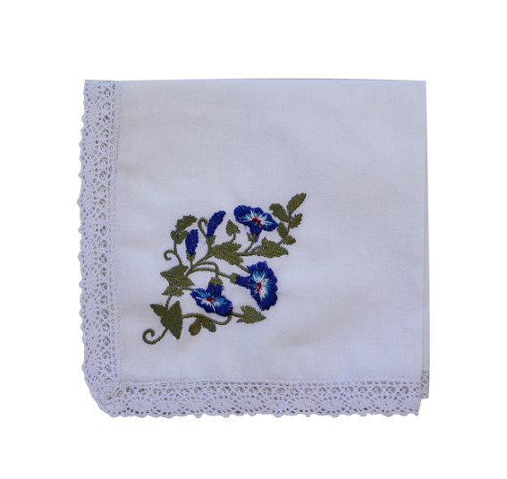 Embroidered Handkerchief - Bluebell (single)