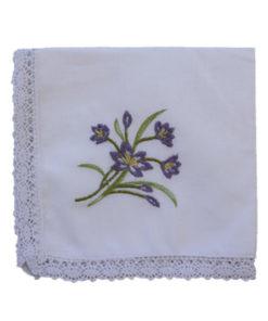 Embroidered Handkerchief - Iris (single)