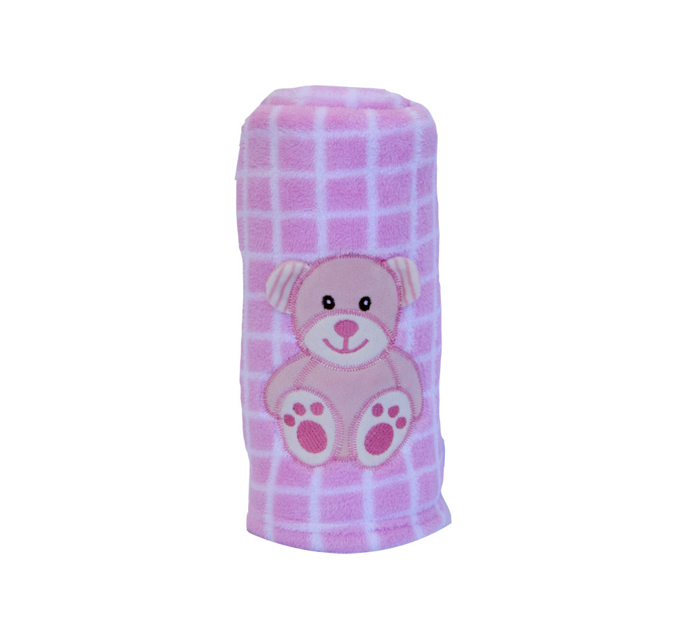 Blanket Buddies - Teddy on Pink Checks