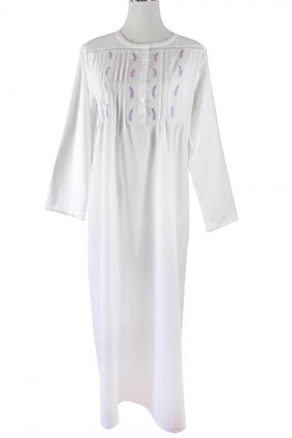 Sweet Dreams Long Sleeve Nightgown - Lavender Tucks