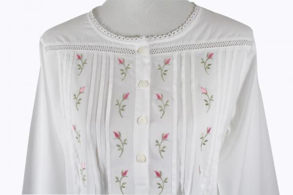 Sweet Dreams Long Sleeved Nightgown - Rosebud Tucks