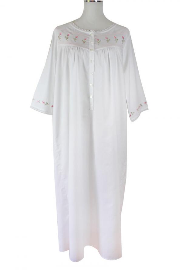 Sweet Dreams 3/4 Sleeve Nightgown - Rosebud Tucks