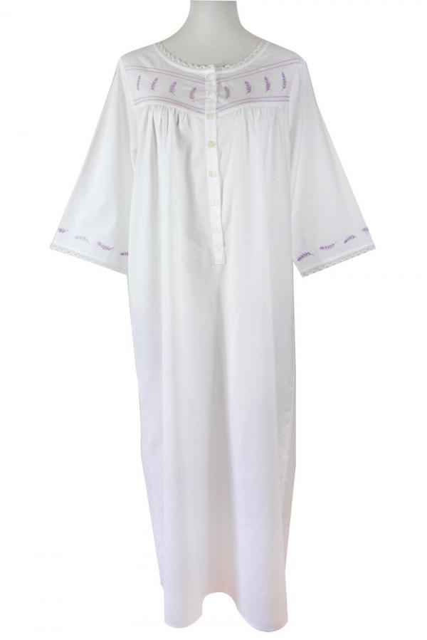 Sweet Dreams 3/4 Sleeve Nightgown - Lavender Tucks